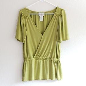 Ice womens green top sz medium wide sleeves shirt